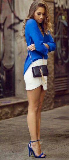 Top| Blouse| Blue| Collar| Long sleeve| Tucked in| Skirt| Mini| White| Textured| Gold| Accent| Leg| Short| Purse| Shoulder bag| Black| Bracelet| Shoes| Heels| Sandals| Summer| Spring| P509