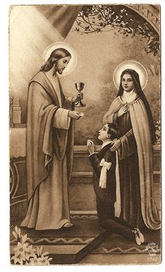 Theresa with First Communion Boy by Sacramento, Vintage Holy Cards, St Therese Of Lisieux, Santa Teresa, Eucharist, Catholic Gifts, First Holy Communion, Prayer Cards, God