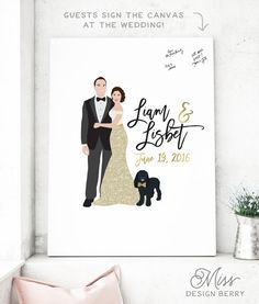 Gold Wedding Guest Book Canvas with Couple Portrait