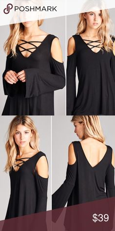 HP S Cold Shoulder Bell Sleeve Criss Cross Top Cold Shoulder Bell Sleeve Criss Cross Neck Top in Black. Material is 95% Rayon, % Spandex and MADE IN USA! Size small limited quantities available! No trades Tops
