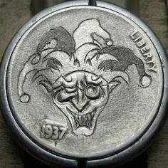 CHRISTOPHER STINNETT HOBO NICKEL - JOKER* - 1937 BUFFALO NICKEL Hobo Nickel, Coin Art, Buffalo, Cactus, Coins, Joker, Rooms, The Joker, Water Buffalo