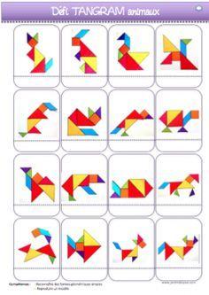 Voici les fiches de suivi pour le défi Tangram(niveau PS-MS).  Tangram Puzzles, Paper Crafts For Kids, Preschool Crafts, Math Literacy, Activities For Kids, Geometry Book, Diy Busy Books, Handmade Gift Tags, Elementary Art