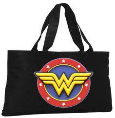 Wonder Woman Logo Oversized Black Tote  Canvas by CustomPLUSinc, $19.99