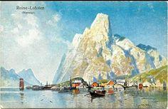 Nordland fylke Moskenes kommune Reine i Lofoten postkort etter maleri utg Ernest Nister, London tidlig 1900-tall