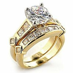 1.25 ct Round Cubic Zirconia cz Bridal Wedding Ring Set Gold plated The Knot Jewelry. $20.99. Cubic-zirconia. Gold-plated. Brass Base Metal. Bridal. Wedding ring set