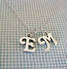 sterling silver cursive initial necklace by juliethefish on Etsy