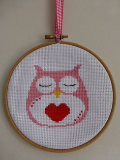 Hand Made Cross Stitch Owl Framed with love heart in by EBCraftsUK, £8.50
