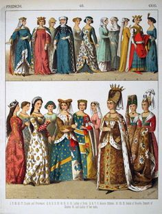 "Plate French: Isabel of Austria (Bavaria), consort of Louis VI and ladies. ""Costumes of All Nations"" by Albert Kretschmer & Dr Carl Rohrbach. Mode Renaissance, Costume Renaissance, Medieval Costume, Renaissance Fashion, Medieval Dress, Medieval Clothing, Europe Fashion, Fashion History, Historical Costume"