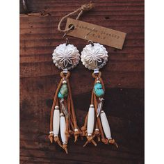 Repurposed vintage concho earrings with leather fringe and feather charm earrings,boho,hippie