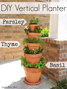 DIY Vertical Planter- great option for an herb garden if low on space! #diy #garden. This one is one of my favorites. We could paint the pots
