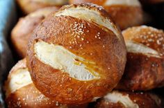 Out of the oven these soft pretzel rolls are perfectly puffed and wonderfully salty and chewy. They look like something that would come out of a gourmet bakery!