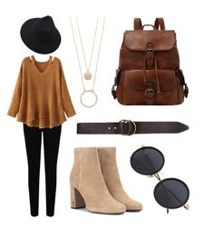 """""""Fall Colors Outfit"""" by catvally on Polyvore featuring EAST, WithChic, Billabong, Kate Spade and Yves Saint Laurent"""