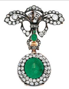 6402167c110 Antique Emerald and Diamond Lapel Watch