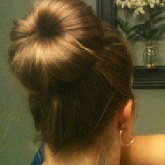 """The formal bun (without the sock). Created from my """"40 ways to wear shoulder length hair"""" pin. Took 10 minutes!"""