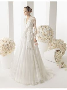 FOCUS VOGUE R5800 A-line Sweetheart Chapel Train Tulle and Lace Bridal Gown