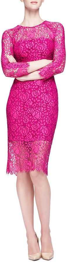 "Lela Rose [span class=""product-displayname""]Long-Sleeve Lace Sheath Dress[/span]"