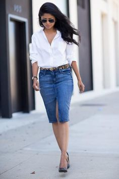 A denim pencil skirt—without rips or distressing—is totally appropriate for a casual or creative workplace. #Fashion #DenimSkirt