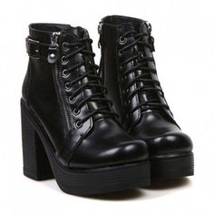 0a4b9969211 Korean Style Black Platform and Buckle Design Short Boots For Women