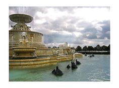 The Scott Fountain, Constructed in 1925 on Belle Isle (the largest Island park in the world) Detroit, MI.  In All it's Glory, with Bronze Turtles Spouting Water, Dolphins, Lions, The Green man (of forest lore) Rams