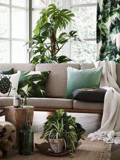 Tropical Decor 32163 tropical living room with palm leaf drapery and pillows Sala Tropical, Estilo Tropical, Tropical Interior, Tropical Home Decor, Tropical Houses, Botanical Interior, Tropical Prints, Tropical Colors, Tropical Furniture