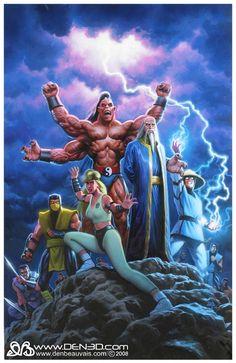 Mortal Kombat, in Den Beauvais& Den Beauvais Comic Art Gallery Room Arte Kombat Mortal, Mortal Kombat Games, The Avengers, Fantastic Four, Comic Books Art, Comic Art, Claude Van Damme, Video Game Art, Video Games
