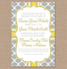 12 Personalized Printed Bridal Bride Wedding Baby Tea Shower Brunch Mod Print Monogram Invitations with envelopes - Modern Mod Print. $13.95, via Etsy.
