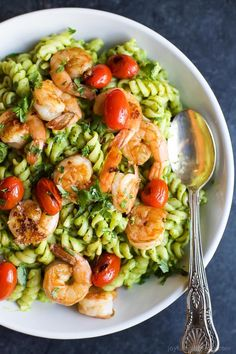 Chimichurri Avocado Pasta with Pan Seared Shrimp, a zesty healthy 25 Minute Pasta you'll feel good about feeding your family! Plus it's loaded with fiber, protein, and healthy fats!   joyfulhealthyeats.com #healthypastamonth #ad