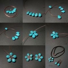 Tutorial DIY Wire Jewelry Image Description Flower Stones with wire. Wire Jewelry Tutorials by Maria T Campos Wire Wrapped Jewelry, Wire Jewelry, Jewelery, Flower Jewelry, Flower Earrings, Jewelry Logo, Owl Jewelry, Jewelry Model, Bohemian Jewelry