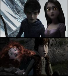 Dark Jack and Rapunzel vs Merida and Hiccup. Uh, i dont kniw hiw i feel about this