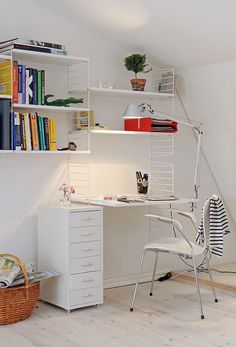 White study room! So clean and tidy..