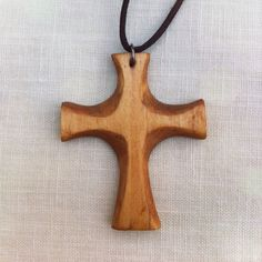 Hand carved pine wooden cross