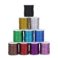*I need metallic cord! Hard to find!!* 10 Spools 10 Yards Metallic Cord Macrame/Beading- 0.5mm