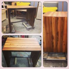 Bar table/ kitchen island from reclaimed wood beams by UltimateDIYGuy.com.