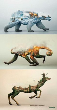 This incredibly striking nature conservation awareness poster : interestingasfuck Art Plastique, Photomontage, Double Exposure, Oeuvre D'art, Cool Drawings, Horse Drawings, Animal Drawings, Amazing Art, Art Paintings