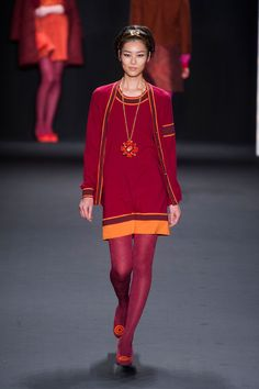 Beautiful mixture of warm colours. (Anna Sui at New York Fall 2013)