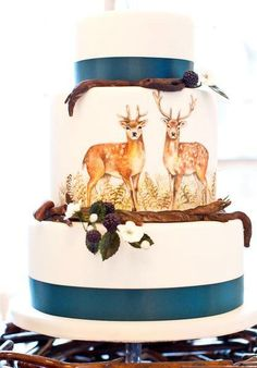 Hand-painted deer wedding cake