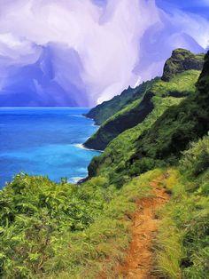 Na Pali Coast From The Kalalau Trail - Painting of #Kauai
