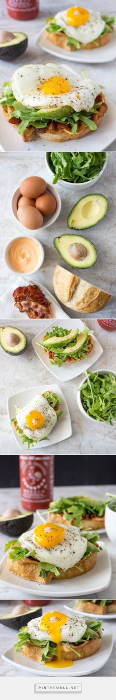 Open-Face Egg Sandwiches with Bacon, Avocado, & Sriracha Aiol! The perfect breakfast item...for any time of day!