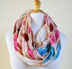 Womens infinity scarf BEIGE with POLKA dot by OriginalDesignsByAR, $14.00