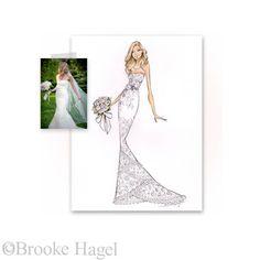 Custom Bridal Fashion Illustration by Brooke Hagel