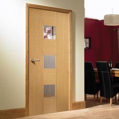 Bespoke Catalonia Oak Flush Door with Linea Safety Glass - Prefinished .  #glazeddoor #internaldoor #bespokedoor #madetoorderdoor #lpddoor #moderninteriordoor #interiordesign #oak #moderninterior