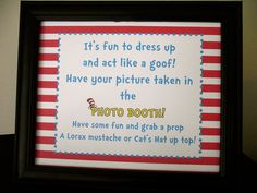 Dr Seuss Cat in the Hat Baby Shower or Birthday Party Photo Booth Sign PDF. $4.99, via Etsy.