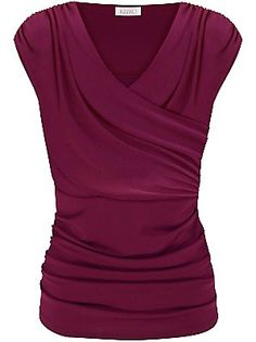 Kaliko Ruched Cross Over Top, Dark Pink Love the colour Lurex Top, Shoes Boots Ankle, Ankle Booties, Mein Style, Types Of Fashion Styles, What To Wear, Wrap Shirt, Wrap Blouse, Style Inspiration
