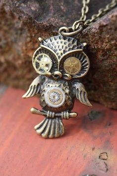 Mechanical Steampunk Cogular Owl Necklace on Etsy, $24.06