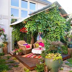 Use simple materials to create a warm and welcoming outdoor room! http://www.bhg.com/home-improvement/porch/outdoor-rooms/small-outdoor-living-spaces/?socsrc=bhgpin033115welcomingoutdoorroom&page=12