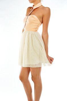 have fun, strapless shirt collar dress - $48
