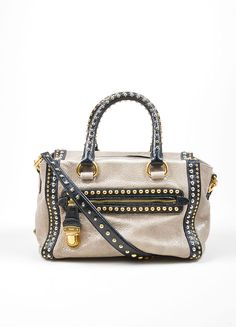 Grey and Black Gold and Silver Toned Prada Cracked Leather Craquele Studded Tote Bag
