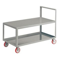 Platform Truck, 32x18, Flush Top by Little Giant. $252.65. Platform Truck, Load Capacity 1200 lb., Overall Length 24 In., Overall Width 18 In., Overall Height 36 In., Deck Length 32 In., Deck Width 18 In., Deck Height 24 In., Gauge 12, Powder Coat Finish, Handle Type Push, Color Gray, Includes Flush Top, Bottom Shelf With 1-1/2 In. Lip and 4 Casters, 2 Rigid & 2 Swivel With Brakes
