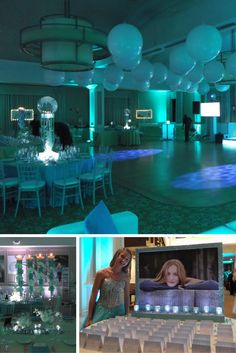 """Love the Bat Mitzvah we did at Edgewood Country Club in Rivervale, NJ! The theme was """"Live it up with Lily"""" with a mint green and sky blue color scheme! We put an assortment of murals of the guest of honor in glamorous shots throughout the venue. The dinner tables centerpieces were towering funky jewel filled vases with floating candles on top and orchids on the side of the vases. Our design team hung white glow orbs over the sky blue lit dance floor. The party was as vibrant and fun as…"""