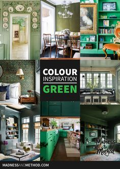 Want to see some colour inspiration for green interiors? Check out all the different shades and hues of green represented in these spaces! Gold Bench, Green Siding, Traditional Chairs, Green Sofa, Cabin Kitchens, Green Rooms, Wood Ceilings, Colour Inspiration, Green Kitchen
